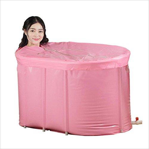 LPYMX,Gepolsterte Badewanne Erwachsene Schwamm am Ende der isolierenden Kappe aufblasbaren Kunststoff Whirlpool Falten Barrel Fass Rosa Badewanne