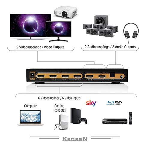 Leicke KanaaN 4K UltraHD HDMI 6×2 Matrix Switch | Fernbedienung | 5.1 Surround SPDIF optisch + Stereo 3.5mm Klinke Audioausgang | ARC und PIP | FullHD, UHD, 4K, 4K*2K kompatibel |HDMI 1.4 Standard - 3