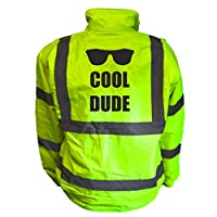 Cool Dude Kids Hi Vis Yellow Bomber Jacket, Reflective High Visibility Safety Childs Coat, By Brook Hi Vis
