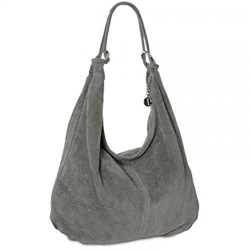CASPAR TL617 Damen Vintage Veloursleder Tasche / Handtasche / Hobo Bag / Shopper, Farbe:dunkelgrau (Wildleder Plätze Collection)