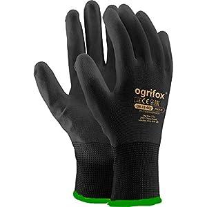 24pares de guantes de trabajo de nailon negro revestidos de poliuretano para jardinería, construcción y mecánica, con adhesivo redondo AJS LTD®, negro