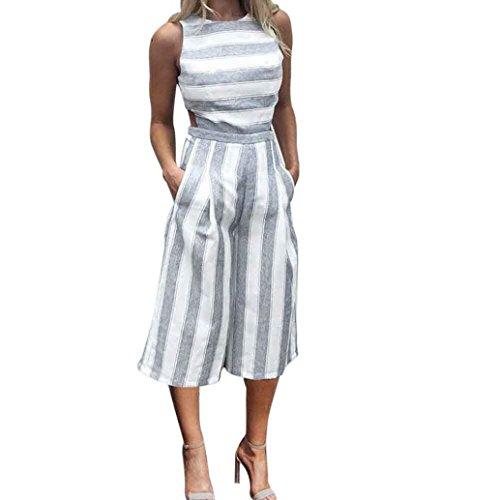 Taille Overall Hose (Jumpsuit Damen Dasongff Frauen Gestreifter Overalls Sommer Ärmellose Playsuit Overall-Zufälliger Clubwear Wide Leg Pants Outfit Spielanzug Hosenanzug (L, Grau + Weiß))