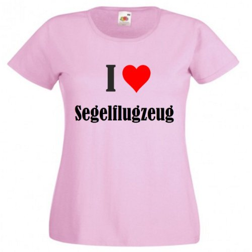 """T-Shirt """"I Love Segelflugzeug"""" für Damen Herren und Kinder in Pink Pink"""