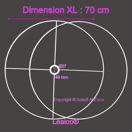 Lealoo - Juego de Estructura Grande de 70 cm de diámetro para Pantalla de lámpara, Anillos Redondos epoxi Blanco, para Casquillo de 40 mm de diámetro E27