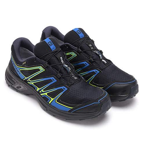 Salomon Wings Flyte 2, Scarpe da Trail Running Uomo, Nero (Black/Bright Blue/Gecko Green), 41 1/3 EU