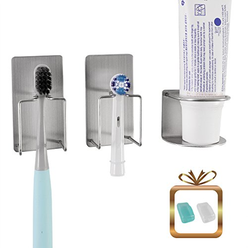 wanyu Badezimmer-Halterung für Zahnpasta, Zahnbürste und elektrische Zahnbürstenkopf - Selbstklebende Edelstahl-Halterung mit minimalistischem Design - platzsparend und hygienisch