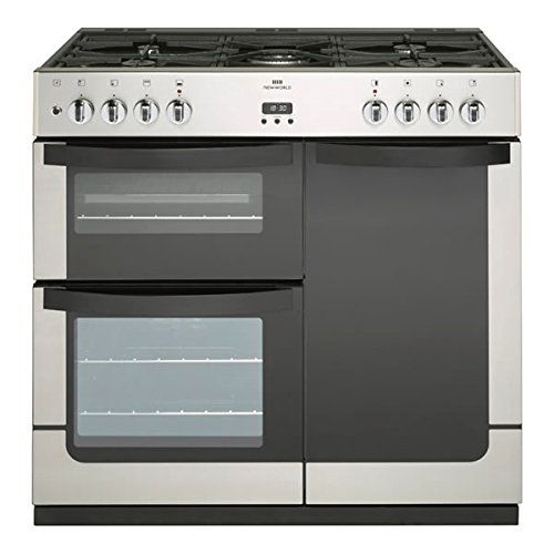New World VISION 900DFTSS 900mm Dual Fuel Range Cooker 5 x Burners WOK S/Steel Best Price and Cheapest