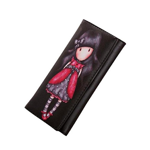 Internet Femmes Sac à main Cartoon Graffiti File Long Portefeuille 19cm×8cm×2.5cm (Noir)