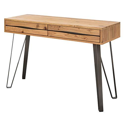 Massive Konsole Living Edge 120cm Wildeiche geölt Schreibtisch Industrial Design Konsolentisch Schminktisch