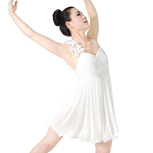 So Was Ein Schulter Verstimmen Pailletten Lyrische Kleid Tanz Kostüm (Elfenbein, SC) (Tanz Kostüme Lyrischen)