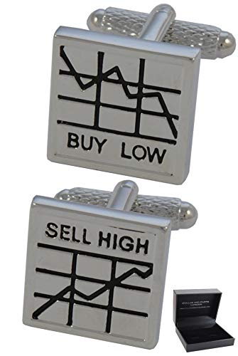 COLLAR AND CUFFS LONDON - HOCHWERTIGE Manschettenknöpfe mit Geschenk Box - Buy Low, Sell High - Stilvolle Messing - Quadratisch - Silber und Schwarz Farben - Aktien und Anteile Banker Börsenmakler