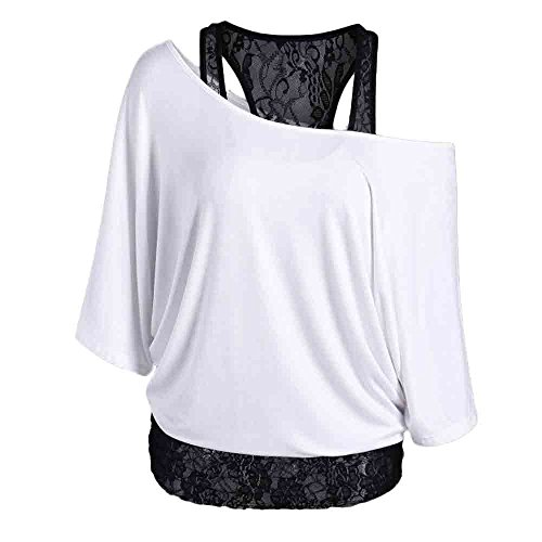 ESAILQ Mode Damen Casual Kurzarm Skew Neck Trägerlosen Blumendruck T-Shirt Tops (M, Weiß-Y) (Shirt Dickies-kurzarm Polo)