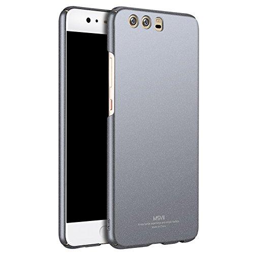 Huawei P10 5,1 Zoll Hülle, MSVII® PC Kunststoff Härte Hülle Schutzhülle Case Und Displayschutzfolie für Huawei P10 5,1 Zoll - Rose Gold JY30037 Grau