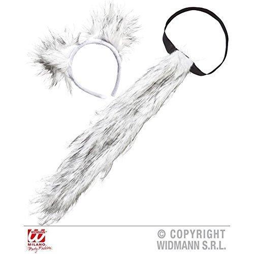 Im Kostüm Wolf Schaf - plüschiges Wolfsset zweiteilig ( Wolfschwanz und Wolfsohren ) in weiß - schwarz meliert / Wolfskostüm Zubehör
