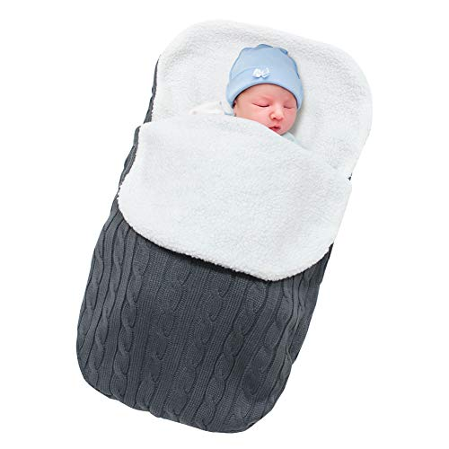 Basumee Neugeborenes Baby Gestrickt Wickeln Decke Säuglinge Baby Pucksack Winter Plüsch Schlafsack für 0-12 Monat für Kinderwagen, Babybett, Babykorb (Dunkelgrau)