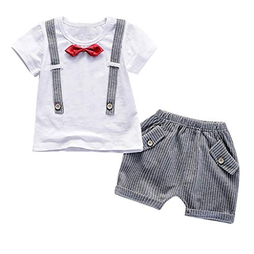 sunnymi 0-3 Jahre Kleinkind Baby Jungen Gentleman Bogen T-Shirt Tops Shorts Hosen Outfits Kleidung Set (Halloween-t-shirts Für Kleinkinder)