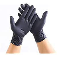 EiioX 100Pcs Disposable Nitrile Gloves Powder Free Ambidextrous For Medical House Industrial Use Tattoo Gloves, Black (M)