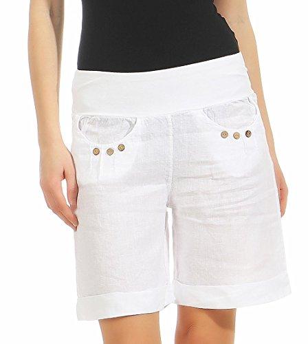 Malito Damen Bermuda aus Leinen | lässige Kurze Hose | Shorts für den Strand | Pants - Hotpants 6822 (weiß, M)