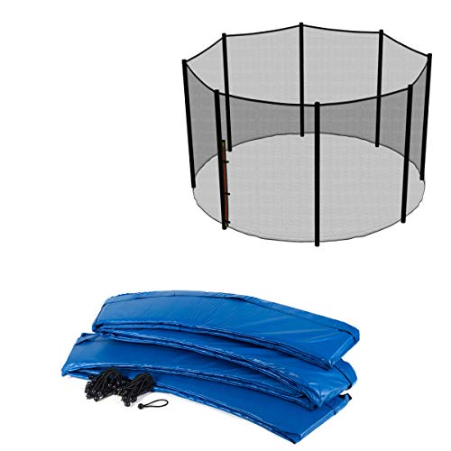 Ampel 24 Outdoor Trampolin Ersatzteil-Set passend für Ø 305 cm: Randabdeckung blau faserverstärkt, Sicherheitsnetz für 8 Stangen außenliegend