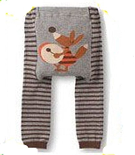 Busha Baby Toddler Unisex Leggings with Adorable Animal Design Fox with Drum in Grey & Brown Striped Size S 6-12 Months