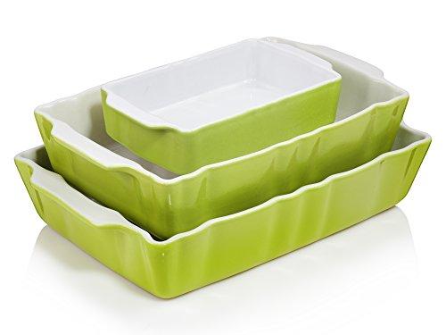 Bluespoon Auflaufformen Set 'Classico' Grün 3 teilig | 2,7 Liter, 1,7 Liter und 0,7 Liter | Ofenformen perfekt geeignet für 2 bis 6 Personen | Ofenfest bis 220° C