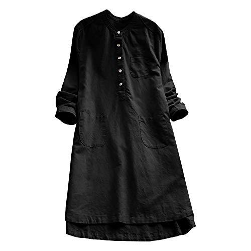 VJGOAL Damen Kleid, Damen Lässige Retro-Baumwolle und Leinen Knopf Lange Tops Bluse Lose Lange Ärmel Mini Hemd Kleid (Schwarz, 44)