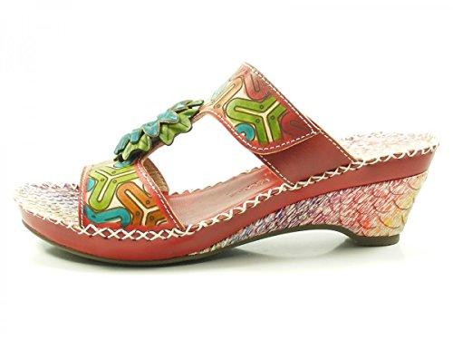 Laura Vita CX9901-7 Daphne 07 Schuhe Damen Sandalen Keil Pantoletten Rot c654853404
