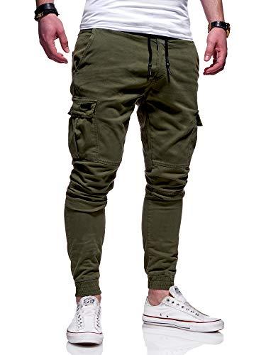 MT Styles Herren Cargo Chinohose Jogger Hose JN-3839 [Khaki, W30]