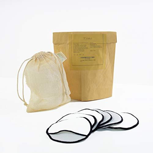 KaMa-Lifestyle | 6x XXL Premium Bambus Abschminkpads | 2 in 1 Reinigung & Pflege | Waschbar | Umweltfreundlich & Nachhaltig | Zero waste | GRATIS Wäschenetz |