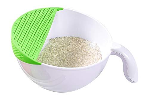 Ambrosya® | Funktionale Schüssel mit integriertem Sieb + Griff | Abtropfschale Abtropfsieb Kochschüssel Küchenschale Küchenschüssel Nudelsieb Salatschleuder Salatschüssel Schale (23 cm, Grün)