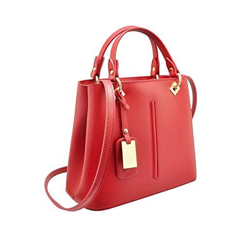 VALENTINA Sac portés main à bandoulière avec couture avant, cuir lisse, fabriqué en Italie antiques nude rose