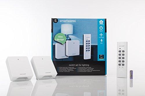 Smartwares SmartHome 2-er Set Funksteckdosen, extra flach für Geräte bis 460 W mit 4-Kanal Fernbedienung, 1 Stück, SH5-SET-FL - 4