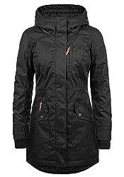 DESIRES Bella Damen Übergangsparka Parka Übergangsjacke Lange Jacke mit Kapuze, Größe:S, Farbe:Black (9000)
