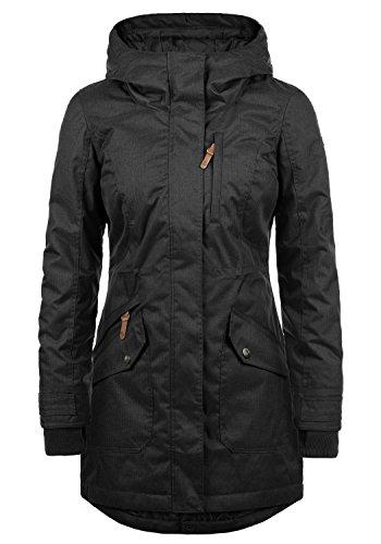 DESIRES Bella Damen Übergangsparka Parka Übergangsjacke Lange Jacke mit Kapuze, Größe:XL, Farbe:Black (9000)