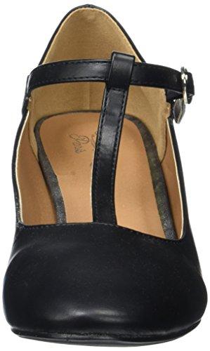 Initiale Damen Santina T-spange Noir (noir Pu)