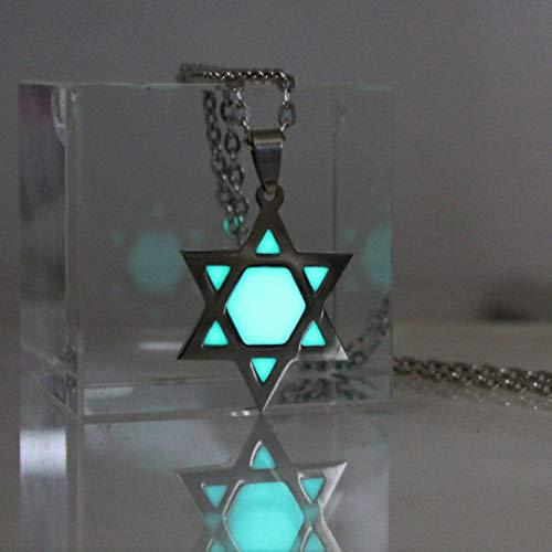 YANOAID Glühende Halskette Davidstern Halskette Edelstahl Halskette Glühen In Der Dunklen Nacht Geschenke Männer Frauen Mädchen