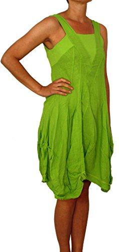 20337 Damen Leinen Kleid Frauen Sommer Kleid mit Volant am Saumen lang figurbetont grau blau schwarz weiß beige grün M L XL XXL. Grün