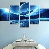 Wslin Modulare Bilder Wandkunstwerk Poster Hd Gedruckt 5 Panel Pflanze Landschaft Leinwand Malerei Dekoration Wohnzimmer Drucke Auf Leinwand 150X80Cm