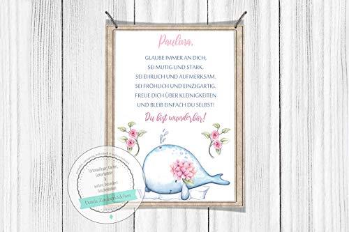 zimmerposter Walfisch Nautisch Zitat personalisiert Print Geburt Poster Geburt DIN A4 ()
