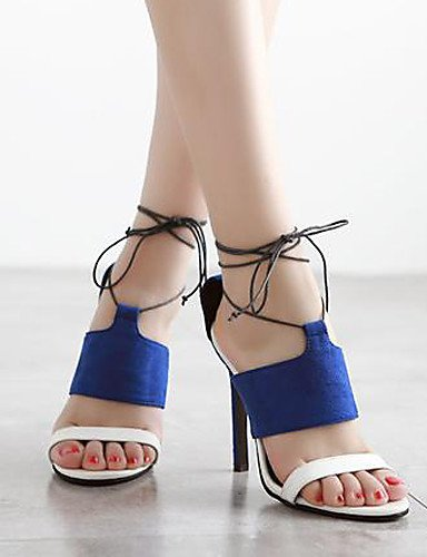 UWSZZ IL Sandali eleganti comfort Scarpe Donna-Sandali-Formale / Serata e festa-Tacchi / Plateau / Aperta-A stiletto-Felpato-Nero / Blu Black