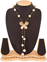 Navya Gold Simulated Opal Crystal Butterfly Pearl Gold Plated Long Necklace for Women