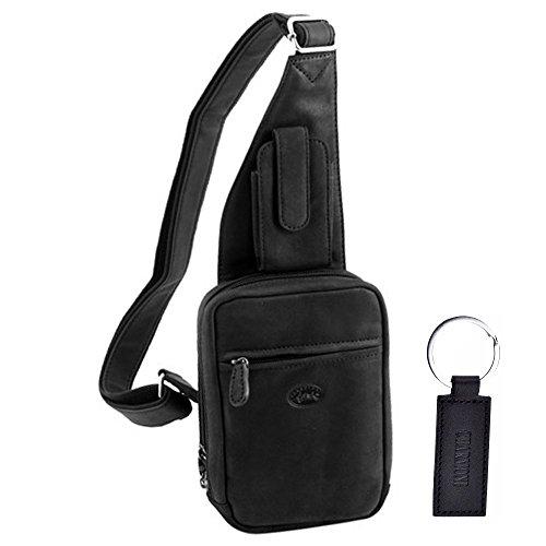 3ad93603db Charmoni Sac Sacoche Holster Multi-poches En Cuir De Vachette Pour Homme Et  Porte Clé