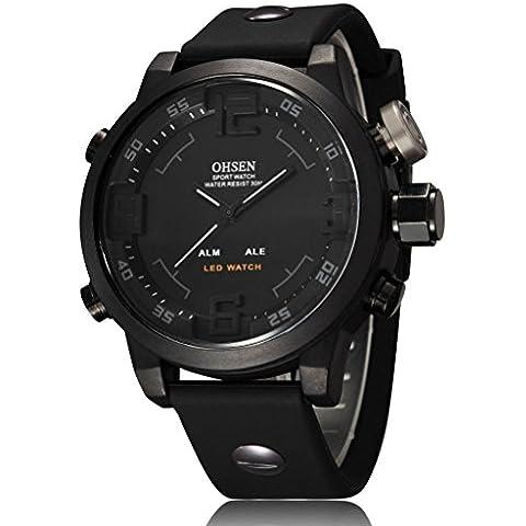 vear vear Mens militare impermeabile Allarme Sport Orologio Digitale a LED in silicone nero
