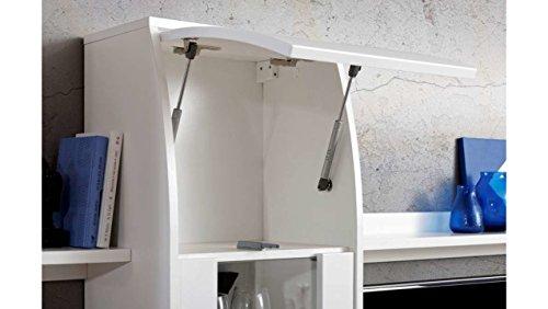 JUSThome COMET II Wohnwand Anbauwand Schrankwand (HxBxT): 187x226x40 cm Schwarz Matt / Schwarz Hochglanz - 8
