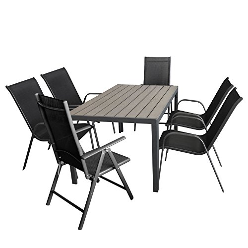 Wohaga Gartenmöbel-Set Aluminiumtisch mit Grauer Polywood-Tischplatte, 150x90cm + 4X Stapelstuhl...