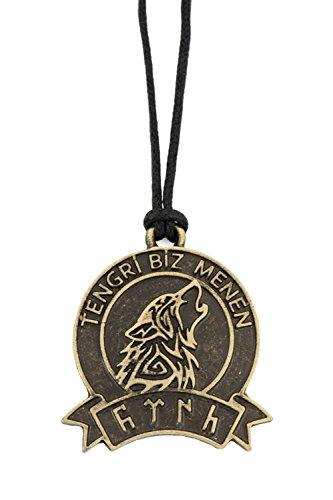 Gök-Türk Halskette für Herren Damen Unisex mit Anhänger 'Tengri Biz Menen' Wolf - Schwarze Schnur