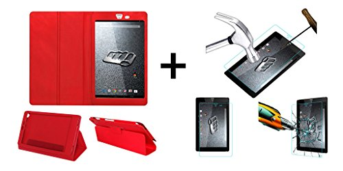 ACM Executive Case & Tempered Glass Combo for Micromax Canvas Tab P666 Flip Cover Screen Guard Red