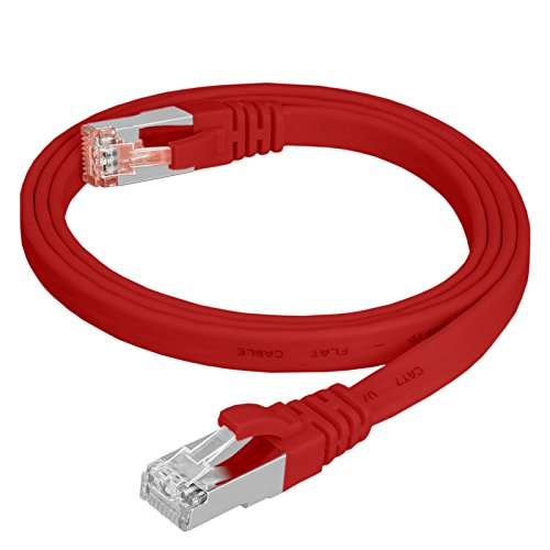 HB Digital Netzwerkkabel LAN Kabel cabel Flachkabel slim flach RJ45 Stecker 7,5m 750cm cat 7 rot Kupfer PROFI U/FTP Halogenfrei RoHS-compliant cat. 7 Cat7 RJ45 Port Ethernet Netzwerk Patchcable