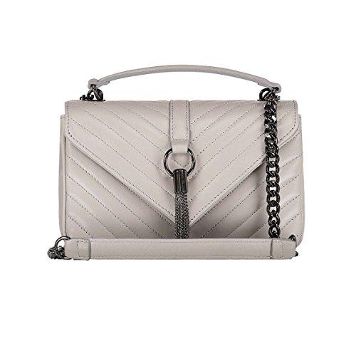 EVA MEDIUM Chevron Monogramm Matelasse Handtasche, Schultertasche mit Kette, Handtasche, Schultertasche, elegante Einkaufstasche, echtes italienisches gestepptes Leder Hellgrau Medium size
