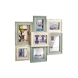 Kobolo Bilderrahmen-Collage aus Holz 49x52cm Mint weiß für bis zu 7 Bilder